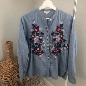 LUCKY BRAND Womens Striped Embroidered Top Sz L
